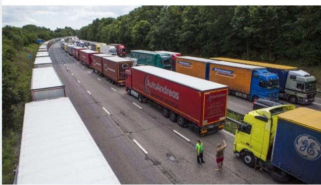 Lorries parked on a motorway